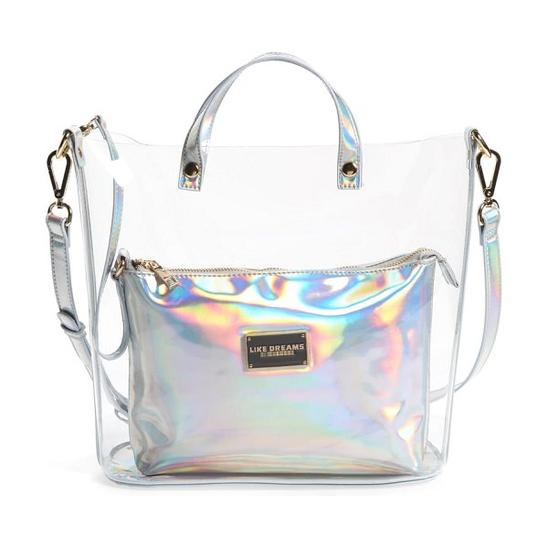 LIKE DREAMS transparent satchel in clear silver