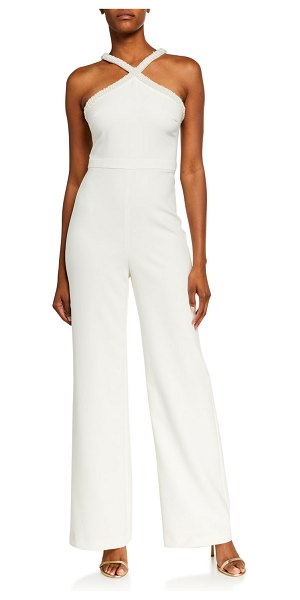LIKELY Ashland Beaded Pearl Trim X Halter Jumpsuit in white