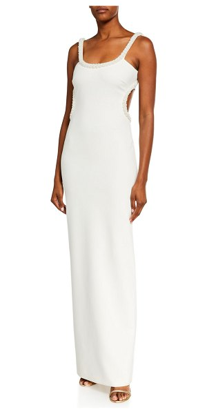 LIKELY Enzo Pearl-Trim Scoop-Neck Cutout-Back Gown in white