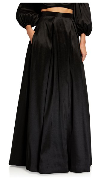 LIKELY Fila Long Inverted Pleat Full Skirt in black