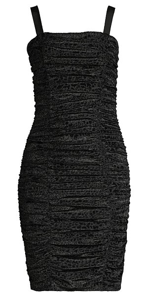LIKELY leopard burnout ruched bodycon dress in black