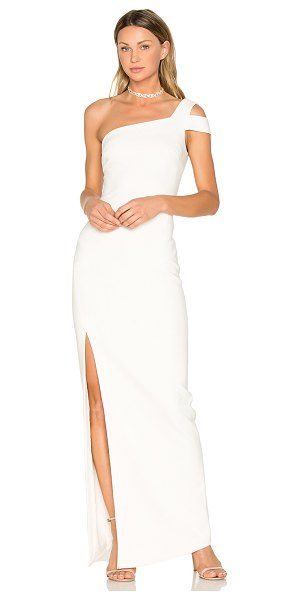 LIKELY Maxson Gown in white - Self: 73% poly 22% rayon 5% spandexLining: 100% poly....