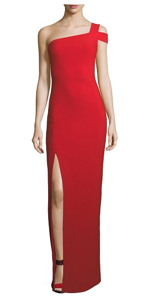 """LIKELY Maxson One-Shoulder Column Evening Gown in scarlet - Likely """"Maxson"""" crepe evening gown. Approx. 52""""L down..."""