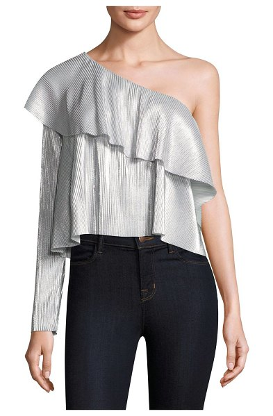 LIKELY metallic on-sleeve top - Metallic pleat top with asymmetric overlay. Asymmetric...