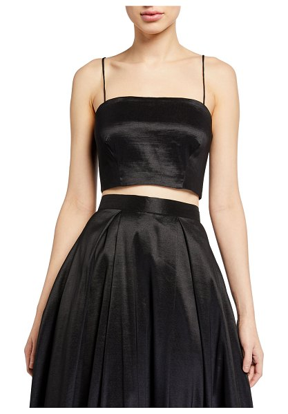 LIKELY Rosaline Cropped Sateen Cami Top in black