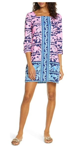 Lilly Pulitzer lilly pulitzer bailee print floral shift dress in hi tide nvy perf pair eng drs
