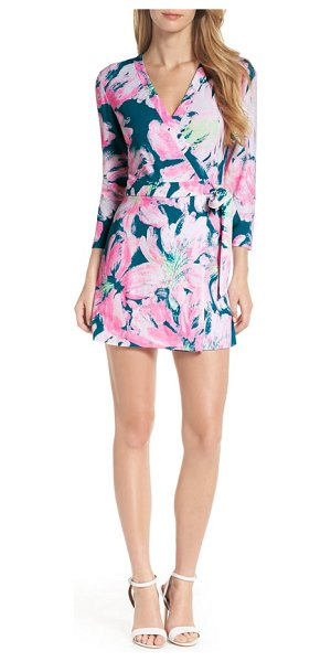 b1fc3cfced45 Lilly Pulitzer lilly pulitzer karlie wrap romper in blue green - A wrap  front gives