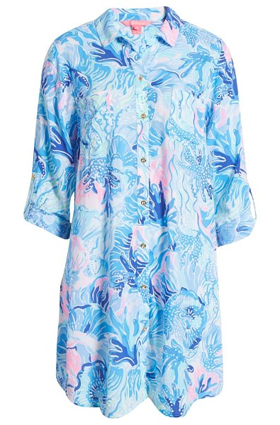 Lilly Pulitzer lilly pulitzer natalie cover-up shirt dress in saltwater blue shade seekers