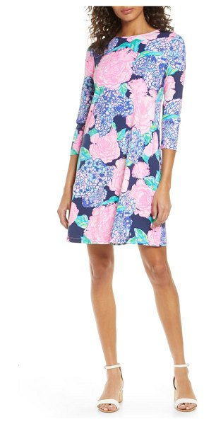 Lilly Pulitzer lilly pulitzer ophelia floral print shift dress in high tide navy hey hey bouquet