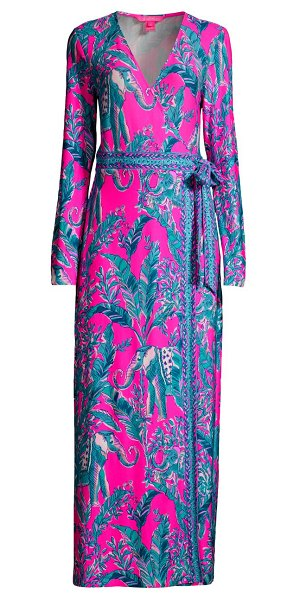 Lilly Pulitzer marseilles print wrap maxi dress in mandevilla pink talk story to me