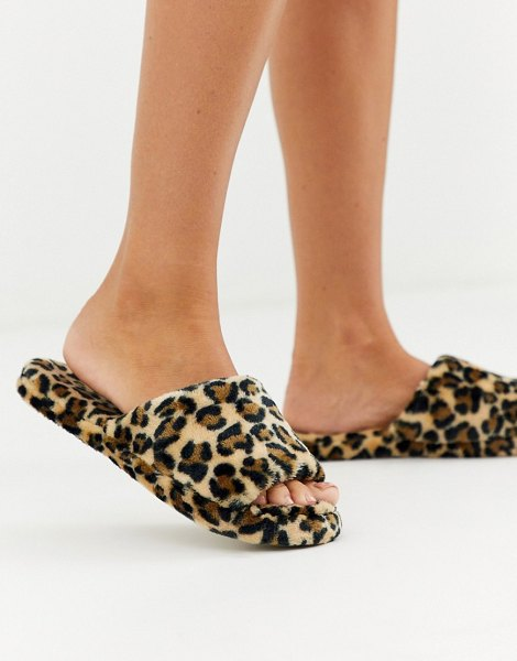 Lindex faux fur leopard print slider slippers-multi in multi