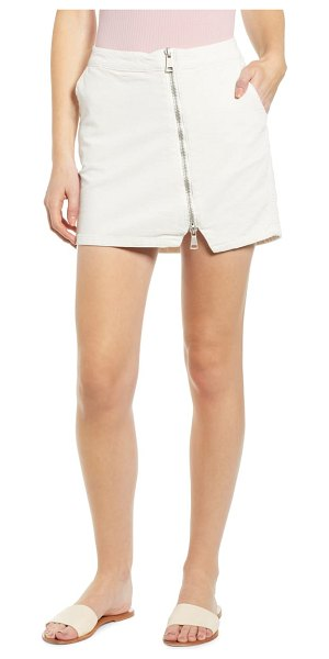 Lira Clothing javelin corduroy miniskirt in ivory - A gleaming asymmetrical zipper racing from waist to hem...