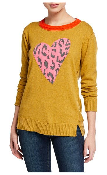 Lisa Todd Animal-Print Heart Intarsia Sweater in honey