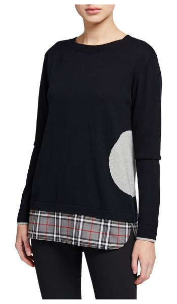 Lisa Todd Crewneck Dot Intarsia Sweater with Plaid Hem Detail in black