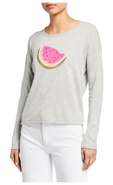 Lisa Todd Whatamelon Embroidered Cotton-Blend Sweater in marble