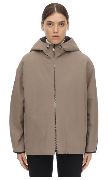 LISKA Hooded jacket w/ fur lining in taupe