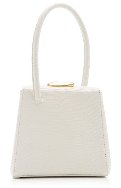 Little Liffner baby boss lizard-effect leather top handle bag in white