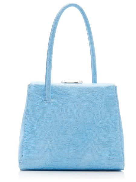 Little Liffner madame lizard-effect leather top handle bag in blue