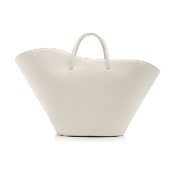 Little Liffner open tulip large leather tote in white