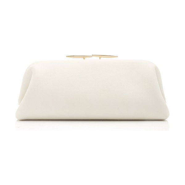 Little Liffner oyster leather clutch in white