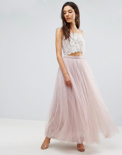 Little Mistress maxi tulle prom skirt-pink in pink