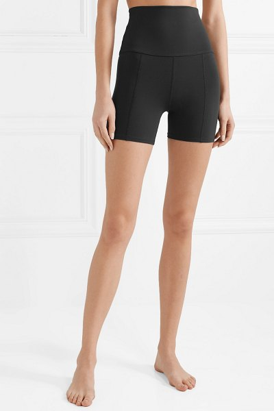 LIVE THE PROCESS geometric stretch-supplex shorts in black