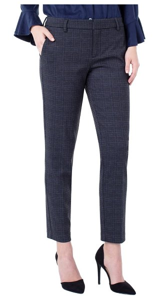 Liverpool kelsey plaid knit trousers in grey/ black
