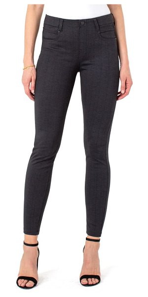 LIVERPOOL LOS ANGELES gia glider knit pull-on skinny pants in grey/ black