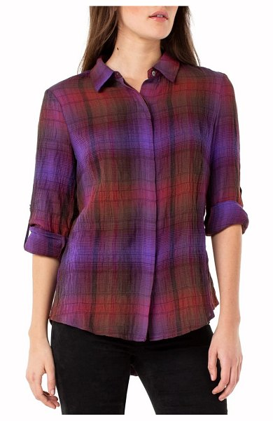 Liverpool plaid button back crinkled cotton blouse in red/ purple/ green stripe