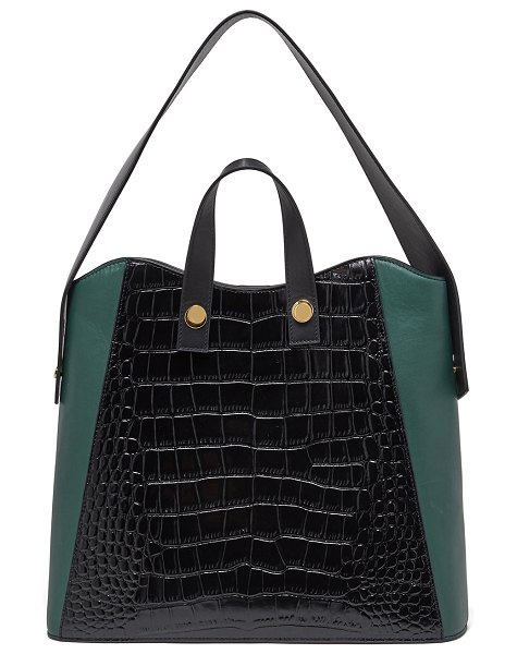 Lizzie Fortunato Friday Small Croc-Embossed Leather Shopper Tote Bag in black