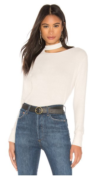 LNA Tristin Slub Sweater in cream - 83% rayon 7% poly 6% cotton 4% spandex. Rib knit fabric....
