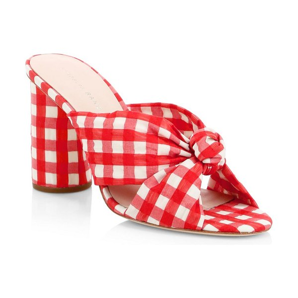 Loeffler Randall Coco Gingham Knot Mules in red