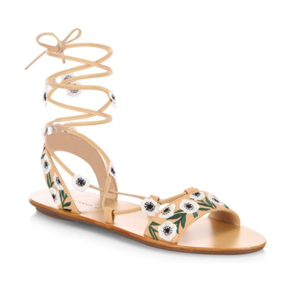 Loeffler Randall fleura embroidered vachetta leather ghillie sandals in wheat anemone - Embroidered ghillie sandals with floral appliques....