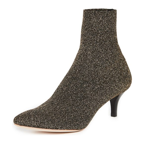 Loeffler Randall kassidy stretch low heel booties in black/gold - Pointed-toe Loeffler Randall booties rendered in...