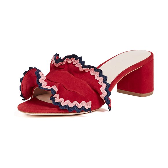 Loeffler Randall vera city slide sandals in bright red/multi - Bold rickrack trims the stand-up ruffles on these suede...