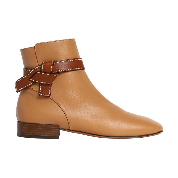 Loewe 20mm gate leather ankle boots in desert,tan