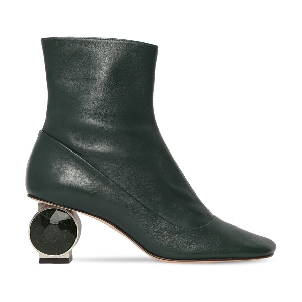 Loewe 55mm crystal heel leather ankle boots in green
