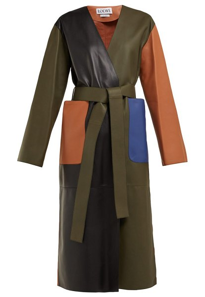Loewe Belted Leather Coat in green multi - Loewe - Founded in Madrid by a collective of Spanish...
