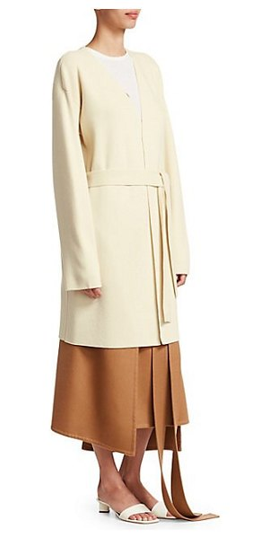 Loewe belted wool & cashmere knit coat in ecru - Crafted of a luxurious blend of wool and cashmere, this...