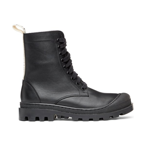 Loewe black leather combat boots in 1100 black