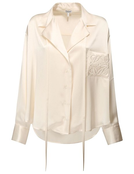 Loewe Buttoned satin shirt w/logo embroidery in white