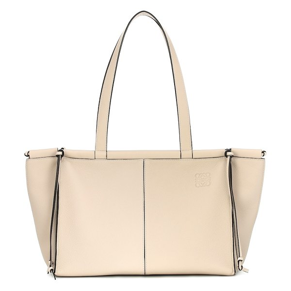 Loewe cushion small leather tote in white