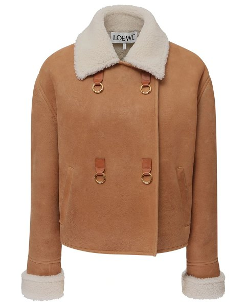 Loewe Double breasted shearling jacket in light brown