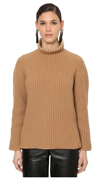 Loewe Embellished cashmere rib knit sweater in camel