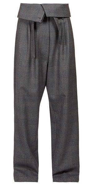Loewe folded waist straight leg wool trousers in grey multi