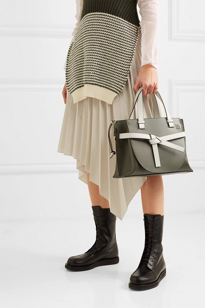 Loewe gate small two-tone leather tote in green