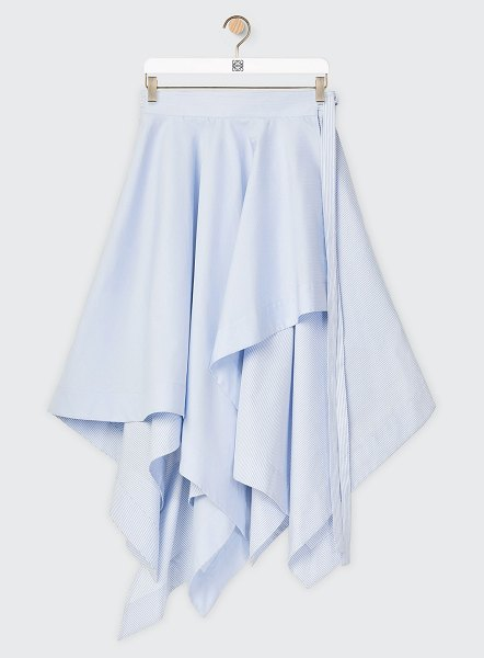 Loewe Layered Midi Handkerchief Wrap Dress in white/blue
