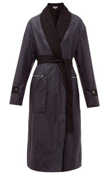 Loewe reversible layered nylon and wool coat in navy