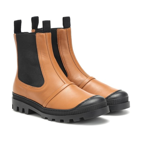 Loewe leather ankle boots in brown