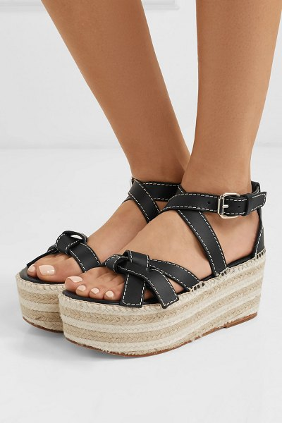 Loewe leather espadrille wedge sandals in black - Crafted at the label's renowned Spanish atelier, Loewe's...